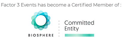 Factor 3 Events has become a Certified Member of  Biosphere: Committed Entity